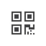 qrkodsymbol, fast logoillustration, isolerad pictogram stock illustrationer