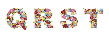 QRST spring flowers. Illustrated 2d graphic / art / background / pattern for all usage. Please check my portfolio for all the ALPHABETS of the same range Royalty Free Stock Photo