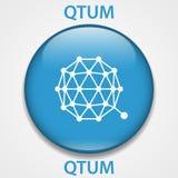 QTUM-cryptocurrency blockchain pictogram Virtueel elektronisch, Internet-geld of cryptocoin symbool, embleem stock illustratie