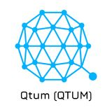 Qtum QTUM Icona cripto della moneta dell'illustrazione di vettore Fotografia Stock