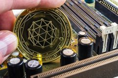 Qtum is a modern way of exchange and this crypto currency. Is a convenient means of payment in the financial royalty free stock image