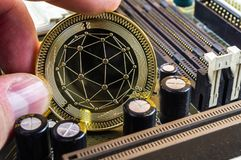 Qtum is a modern way of exchange and this crypto currency. Is a convenient means of payment in the financial stock photo