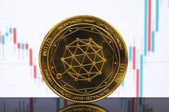 Qtum is a modern way of exchange and this crypto currency. Is a convenient means of payment in the financial and web markets stock image