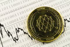 Qtum is a modern way of exchange and this crypto currency. Is a convenient means of payment in the financial royalty free stock photo