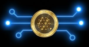 QTUM QTUM cryptocurrency coin with glowing blockchain transaction schematic. QTUM QTUM cryptocurrency gold coin on the background of glowing blockchain stock footage