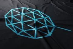 Qtums-cryptocurrency Ikone auf Flagge lizenzfreies stockbild