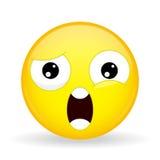 Qué emoji Emoción del choque Emoticon de Wtf Estilo de la historieta Icono de la sonrisa del ejemplo del vector Fotos de archivo libres de regalías