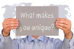 ¿Qué le hace único? Imagenes de archivo