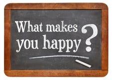 Qué le hace la pregunta feliz Fotos de archivo