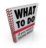 Qué para hacer instrucciones manuales del consejo del libro Imágenes de archivo libres de regalías