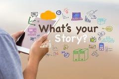 Qué ` s su historia imagenes de archivo