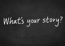 ¿Qué ` s su historia? foto de archivo