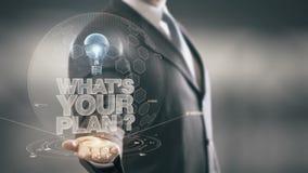 ¿Qué ` s su plan? Tecnologías disponibles de Holding del hombre de negocios nuevas almacen de metraje de vídeo