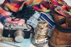 Qué a tomar para un viaje Imagen de archivo libre de regalías