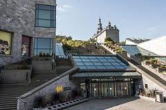 Québec, Canada 19 09 Entrée 2017 de secteur de Musee de la Civilisation Historic de site de patrimoine mondial de l'UNESCO photo stock