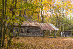 Magnificent sugar shack. In québec more precisely in the eastern townships. Wonderful autumn landscape, old building that tends to disappear to make room for Royalty Free Stock Photos