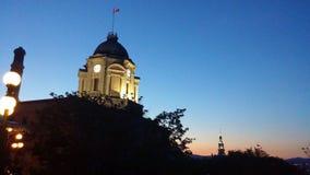 Québec-Stadt bei Sonnenuntergang lizenzfreies stockfoto