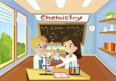 Química cómoda brillante de la lección de la sala de clase ilustración del vector