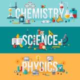 Química, ciência, palavras da física Fotos de Stock Royalty Free