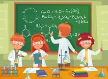 Química del estudio de los niños de la escuela Alumnos de los niños que estudian ciencia y que escriben en el vector de la histor stock de ilustración