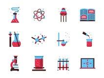 química Iconos planos del color de la ciencia Imagen de archivo
