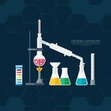 Química orgánica Síntesis de sustancias Frontera de los anillos de benceno Diseño plano Foto de archivo