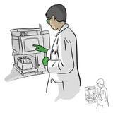 Químico de sexo femenino que usa el ordenador en el ejemplo del vector del laboratorio Foto de archivo libre de regalías