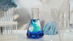 Químico que añade la sustancia en el frasco cónico con el líquido, experimento químico metrajes