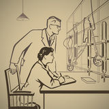 Químicos que esperan y que investigan ilustración del vector