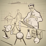 Químicos que investigan otra vez stock de ilustración
