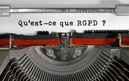 Qu est-ce que RGPD text in french that means What is the GDPR Ge stock images