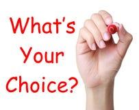 ¿Qué s su opción? Imagen de archivo libre de regalías