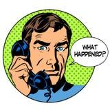 Qué sucedió ayuda en línea de la pregunta del teléfono del hombre Imágenes de archivo libres de regalías