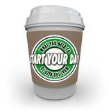 Qué usted necesita para encender su taza de café del día para comenzar la bebida caliente Imágenes de archivo libres de regalías