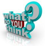 Qué usted piensan la pregunta de la encuesta de la encuesta Foto de archivo libre de regalías