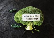 Qué You& x27; re etiqueta de la comida de la consumición Foto de archivo libre de regalías