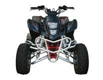 Quad-bicicleta preta de Suzuki fotos de stock