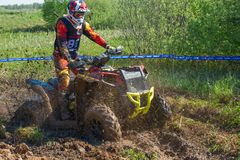 The quad bike is drowning in the mud royalty free stock photography