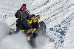Quad bike. In a field in winter Royalty Free Stock Image