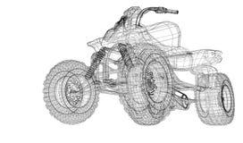 Quad bike, motorcycle,  3D model Royalty Free Stock Photos