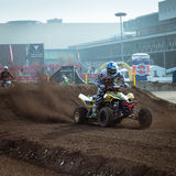 Quad bike race at EICMA 2013 in Milan, Italy Royalty Free Stock Photos
