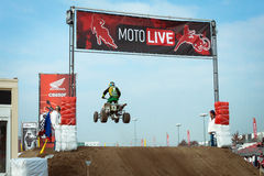 Quad bike race at EICMA 2013 in Milan, Italy Royalty Free Stock Photography