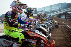 Quad bike race at EICMA 2013 in Milan, Italy Stock Photography