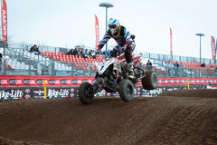 Quad bike race at EICMA 2013 in Milan, Italy Stock Images