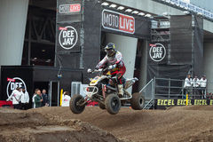 Quad bike race at EICMA 2013 in Milan, Italy Stock Photos