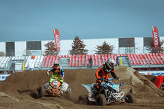 Quad bike race at EICMA 2013 in Milan, Italy Royalty Free Stock Image