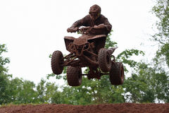 Quad bike racing, airborne Royalty Free Stock Image