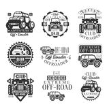 Quad Bike Rental Club Set Of Emblems With Black And White Quadricycle Atv Off-Road Transportation Silhouettes. Vintage Stamp Monochrome Vector Collection With Royalty Free Stock Photography