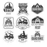 Quad Bike Rental Service Black And White Emblems Royalty Free Stock Photography