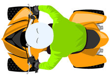 Quad bike with rider isolated top view Royalty Free Stock Photo